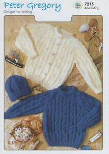 Peter Gregory Knitting Pattern 7215 Classic Cardigan, Sweater & Hat In Aran
