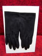 BEAUTIFUL VINTAGE MISS ARIS 100% NYLON BLACK GLOVES W/ EMBROIDERED ROSES SIZE 6