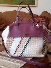 Stylish!*TORY BURCH HALF-MOON MULTI COLORED-WOVEN  LEATHER SATCHEL NEW +DUST BAG