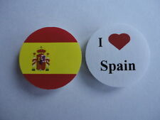 Spain I Love Spain Spanish Flag 25mm Button Lapel Pin Badge. New
