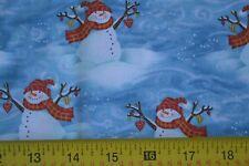 "30"" Long,  Snowmen on Blue Quilting Cotton, Henry Glass / Debi Hron, M8017"