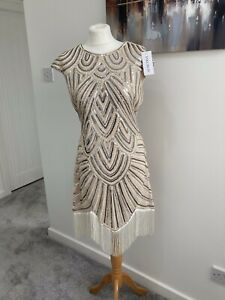ladies Size L Nude & Silver Sequin Art Deco / Flapper Dress From VIKOROS