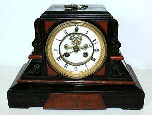 Antique Marti French Mantel Clock w/Open Visible Escapement, Black Marble, Key