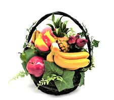 Artificial Fruit Basket with Leaves - Traditional Faux Fake Plastic
