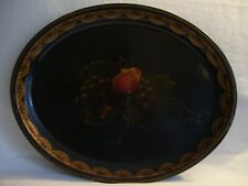 Antique Vintage Handpainted Tole Ware Oval Tray Black w/Gold Trim & Fruit Design