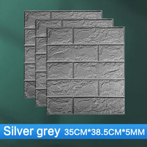10pcs 3D Soft Tile Brick Wall Sticker Self-adhesive Waterproof Large Foam Panel