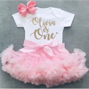 Girls 1st First Birthday Cake Smash Set Outfit Tutu Personalised Pink Gold & Bow