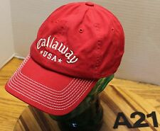 CALLAWAY USA GOLF HAT RED W/WHITE LETTERING STRAPBACK ADJUSTABLE EXC COND A21