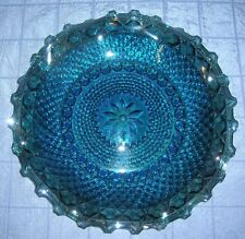 VINTAGE INDIANA CARNIVAL GLASS PLATE IRIDESCENT BLUE DIAMOND POINT PATTERN (B16)
