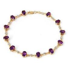 6.07ctw Diamond & Amethyst Hearts Bracelet 14k Solid Yellow Gold
