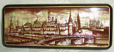 "Russian Lacquer box Mother of pearl Fedoskino ""Old Moscow Kremlin"" Hand Painted"