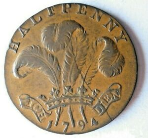 1794 GREAT BRITAIN (SUSSEX) 1/2 PENNY - AU - Rare Coin - BIG VALUE - Lot #S20