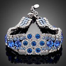 New 18K Gold GP Made With Blue Swarovski Crystal Elements Chain Bangle Bracelet