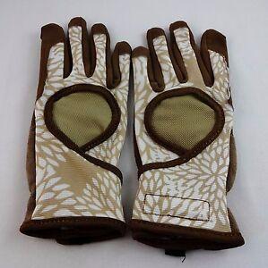 Ladies Garden Gloves One Pair Digz Signature Beige Brown Machine Wash Size Large