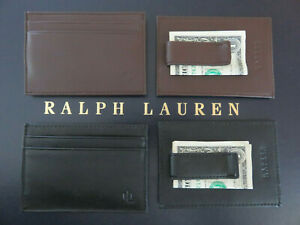 RALPH LAUREN Money Clip Burnished Leather Card Case Money Clip in Brown or Black