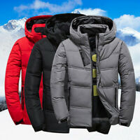 Winter Mens Quilted Duck Down Coat Padded Bubble Puffer Hooded Jacket Parka  vg