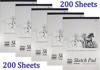 "5 Sketch Pad Book 9"" x 12"" Art Drawing Paper 200 sheets pencil pastel"