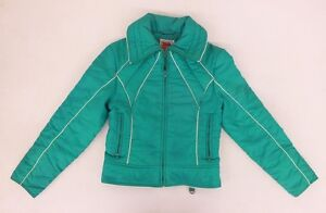 Vintage SKYR Bright Green Insulated Ski Jacket w/White Piping Women's XS GREAT