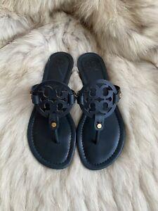 Tory Burch Miller Shimmer Navy Blue Leather Sandal Size 6M