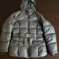 EUC! The North Face 550 Size 18 - XL Down Belted Gray Jacket Parka Hood Girls