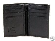 New Slim Thin Mens Bifold Genuine Leather ID Wallet Black Card Holder Zipper 760