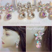 """PIERCED 1.5"""" RHINESTONE Flower Teardrop POST Bling Earrings, Clear or Iridescent"""
