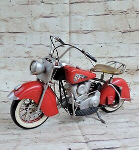 Red Indian Motorcycle 1:8-Scale Diecast 1956 Scout Handcrafted Figure Hot Cast