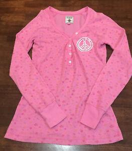 Victoria's Secrets PINK Peace Symbol Thermal Sleep Shirt Small Petite Flower Pat
