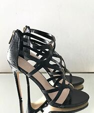 Carvela Kurt Geiger Black Cross Straps High Heel Sandals Size UK 6 EU39 RRP £120