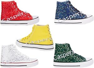 Womens Girls High Top Rhinestone Crystal Gem Trainers Sneakers All Sizes CHOOSE