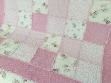 Shabby Chic Girls Mia Cotton Patchwork Throw Rug Vintage Floral Country