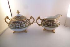 Vintage Hand Painted Nippon Japan Green Gold Bamboo Sugar Bowl & Creamer