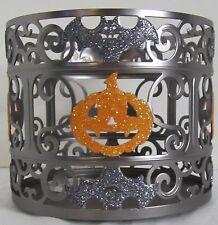 Bath & and Body Works 3-Wick 14.5 oz Candle Sleeve Holder Halloween Pumpkin Bat