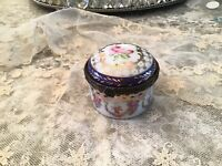 Bohemian Porcelain Box Pink Rose Swags  Gold Paint Trinket Box