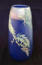"** Stunning Weller Hudson Blue Decorated Vase 8.75"" **"