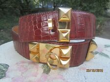 "HERMES MEDOR BELT CDC  ""COLLIER DE CHIEN "" ,CROCODILE, PERFECT CONDITION !!"