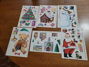 set of 6 Window Cling Christmas Decorations