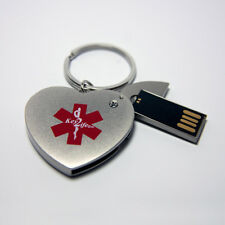 Heart Key Ring USB Key2Life EHR EMR Medical Alert ID-NIB Personal Health Records