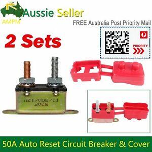 50AMP Car Reset Circuit Breaker Cover Stud Type Fuse Automatic UTE Boat 12V 2Set