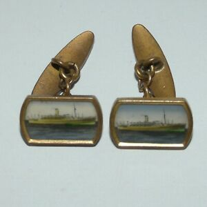 pair of Antique Vintage Art Deco cufflinks STEAMSHIP scene GILT LUCITE PANEL