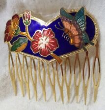VINTAGE Enamel CLOISONNE Hair COMB Blue Pink GOLD Red Flowers BUTTERFLY Sweet!