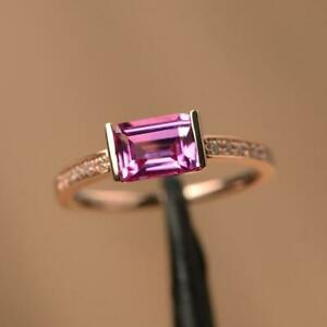 2 Ct Emerald Pink Tourmaline Channel Set Solitaire Ring Yellow Gold Finsh Silver