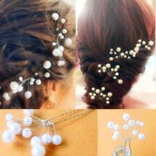 2x Weiß Perlen Haarnadeln Haarschmuck Hochzeit Brautschmuck Tiara Diadem Beauty