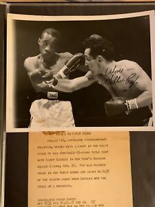 Willie Pep Vs. Sandy Saddler Signed Original Boxing Photo JSA Auto 1/1 Rare