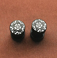 1Pair Stainless Steel Pentagram Star Wicca Pagan Ear Plug Stud Earrings