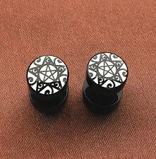 1Pair Stainless Steel Pentagram Star Wicca Pagan Ear Plug Stud Earrings