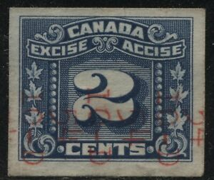 Canada VanDam #FX98 2c blue Excise Tax - imperf 3 leaf - Red Cigarette Ovpt