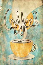 """Abstract Grunge Coffee Poster Kitchen Wall Art Coffee Shop 16"""" x 24"""""""