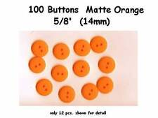 """100 Buttons Orange 5/8"""" Matte 2 hole - 14mm for Halloween costumes"""