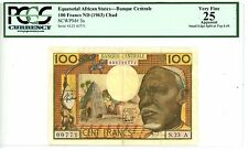 Equatorial African States ... P-3a ... 100 Francs ... ND(1963) ... *VF* PCGS 25